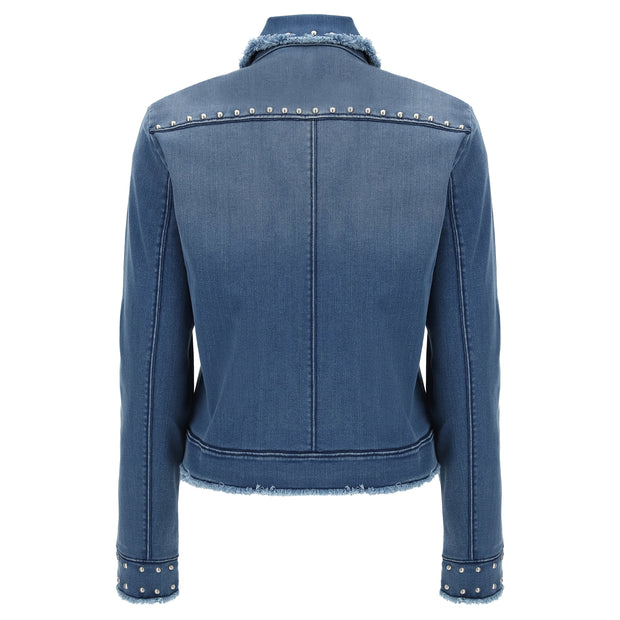 (IT_S0WTWJ9_J4B) Denim-effect jacket with studs and frayed edges