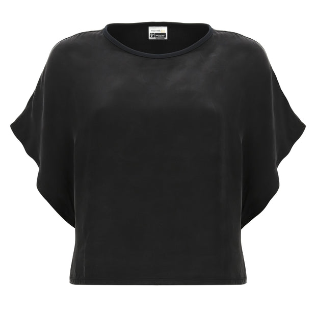 (IT_S0WTWT5_N) Boxy black shirt with short kimono sleeves
