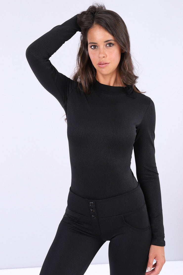 (IT_S0WTWY1_NL) Black curve-hugging long-sleeve bodysuit with a bow