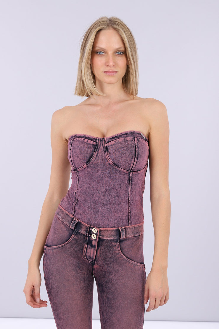 (S0WTWY5-J57F) DYED AND ACID WASHED DENIM-EFFECT BODYSUIT