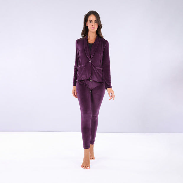 (S0WWTK3-E49) WR.UP®-IN - PURPLE VELVET TRACKSUIT WITH A BLAZER AND WR.UP® SKINNY PANTS
