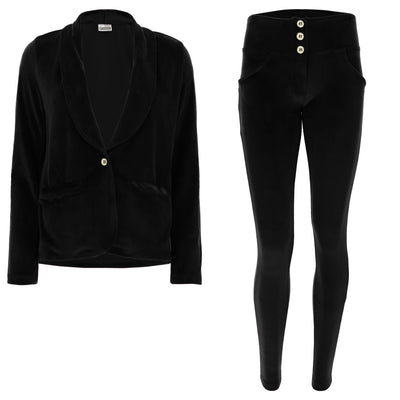 (S0WWTK3-N) WR.UP®-IN - BLACK VELVET TRACKSUIT WITH A BLAZER AND WR.UP® SKINNY PANTS