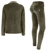 (S0WWTK3-V74) WR.UP®-IN - GREEN VELVET TRACKSUIT WITH A BLAZER AND WR.UP® SKINNY PANTS