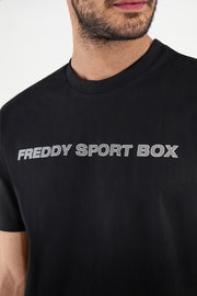 (IT_S1MFST4_N) Comfort-fit t-shirt with a textural FREDDY SPORT BOX print