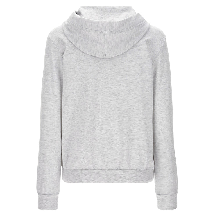 (IT_S1WCLS3M_H104) Melange hoodie with a sequin logo on the sleeve