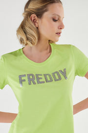 (IT_S1WCLT1_D90) Lightweight jersey t-shirt with sequin FREDDY lettering