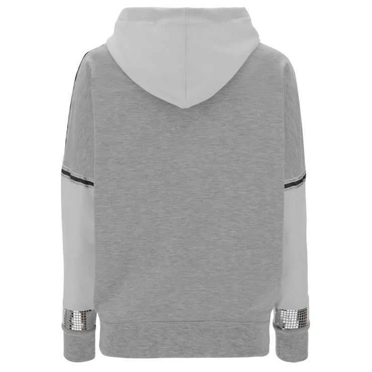 (IT_S1WSDS5M_H107W) Melange grey and white comfort-fit hoodie with a zip