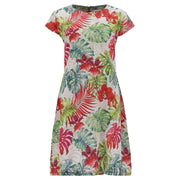 (IT_S1WSLD5C_FLO11) A-line tropical print dress in plant-based fabric