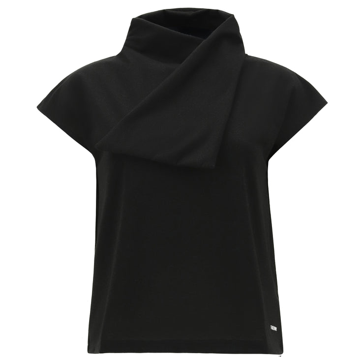 (IT_S1WTWT12_NNL) Lurex jersey t-shirt with a scarf collar