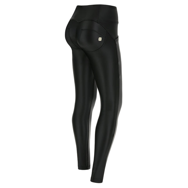 (WRUP1MC006-N)MID-WAIST WR.UP® BLACK PANTS IN FAUX LEATHER