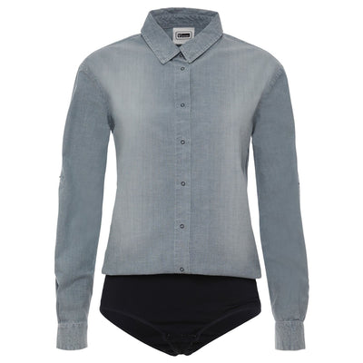 (WB02L02N14-J0)Blouse-Style Chambray Leotard Blue