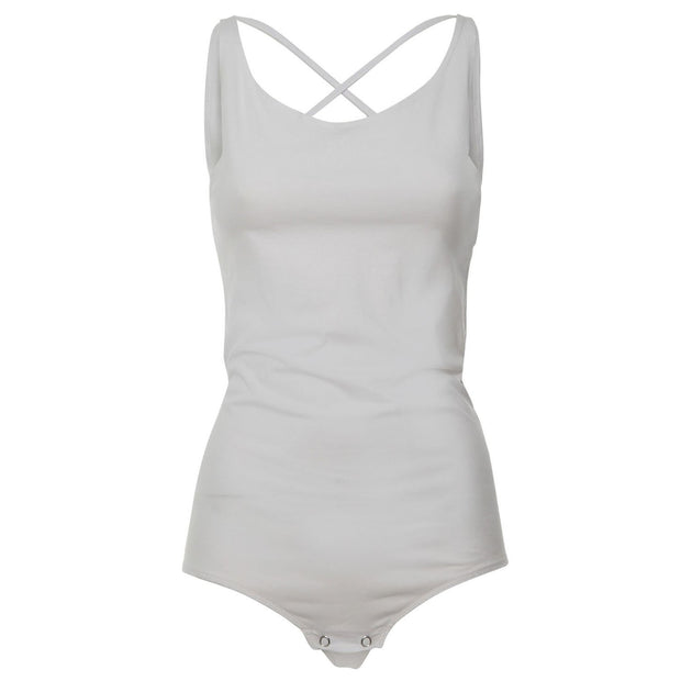 Freddy Leotard With Deep Scoop Neckline In Back And Double, Crossed Shoulder Straps White