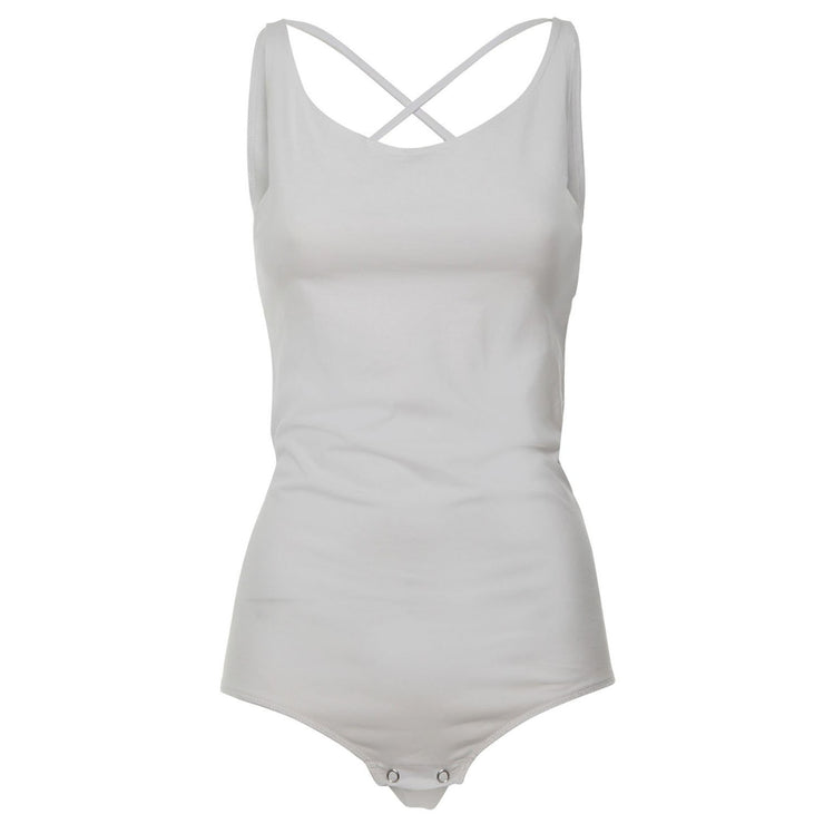 (WB04N00-JES-W) Leotard With Deep Scoop Neckline In Back And Double, Crossed Shoulder Straps White