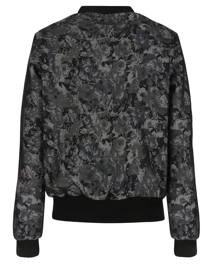 (WS347L01H02-NGWV0)Floral Print Bomber In Mesh-Lined French Terry