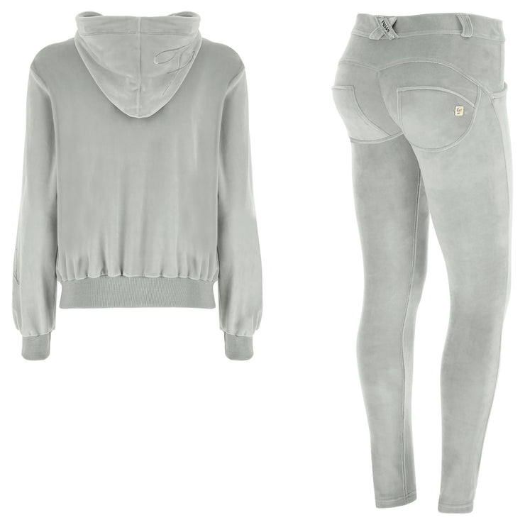 (S9WTRK6-G95)WR.UP-IN - GREY VELVET TRACKSUIT WITH A HOOD AND WR.UP® PANTS