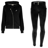 (S9WTRK6-N)WR.UP-IN - BLACK VELVET TRACKSUIT WITH A HOOD AND WR.UP® PANTS