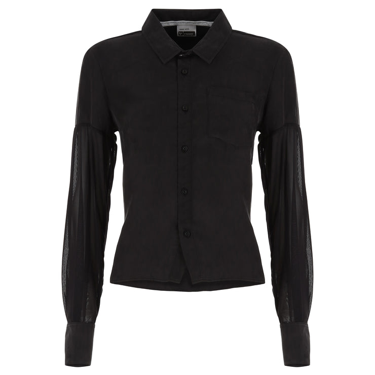 (S9WTWH2-N) LONG-SLEEVE BLACK SHIRT IN CUPRO