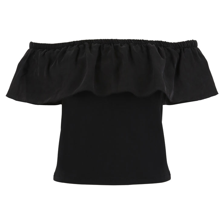 (S9WTWT2-N) SHORT-SLEEVE OFF-THE-SHOULDER BLACK T-SHIRT