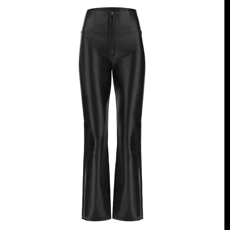 (WRUP11HF015-N)FLARED SHAPING WR.UP® TROUSERS IN SHINY BLACK FAUX LEATHER