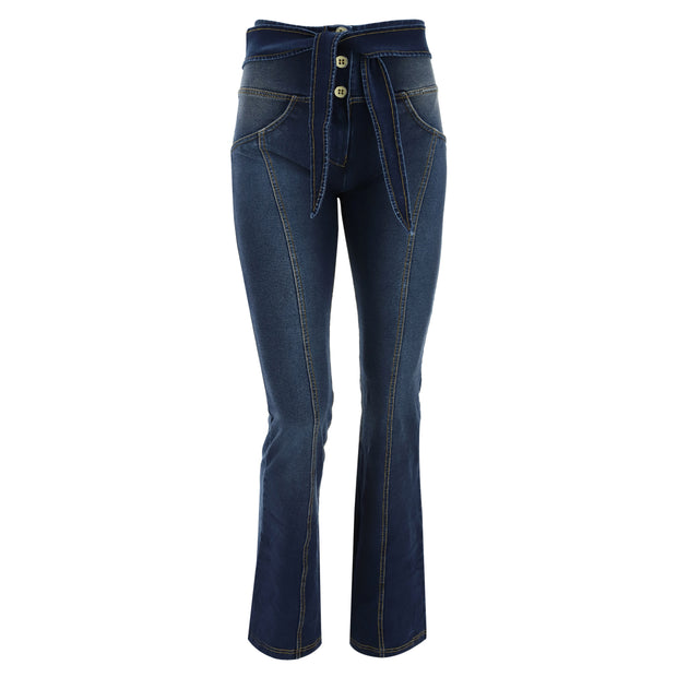 (WRUP11HF017-J0Y) FLARED DENIM WR.UP® BLUE PANTS WITH A KNOTTED BELT