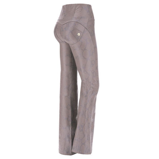 (WRUP11HF931-ANI5) WR.UP® BELL-BOTTOM PANTS IN PYTHON-EFFECT FAUX LEATHER