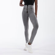 (WRUP1HC003-J3Y) WR.UP® HIGH-WAIST SKINNY-FIT GREY PANTS IN DENIM-EFFECT FABRIC