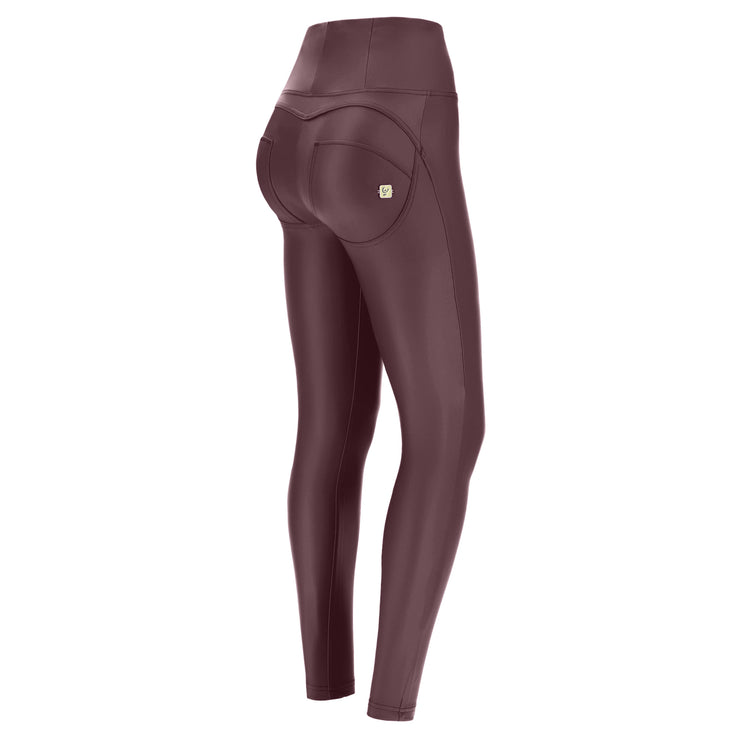 (WRUP1HC006-E70) FAUX LEATHER HIGH-WAIST WR.UP® AUBERGINE PANTS (ORDER A SIZE UP)