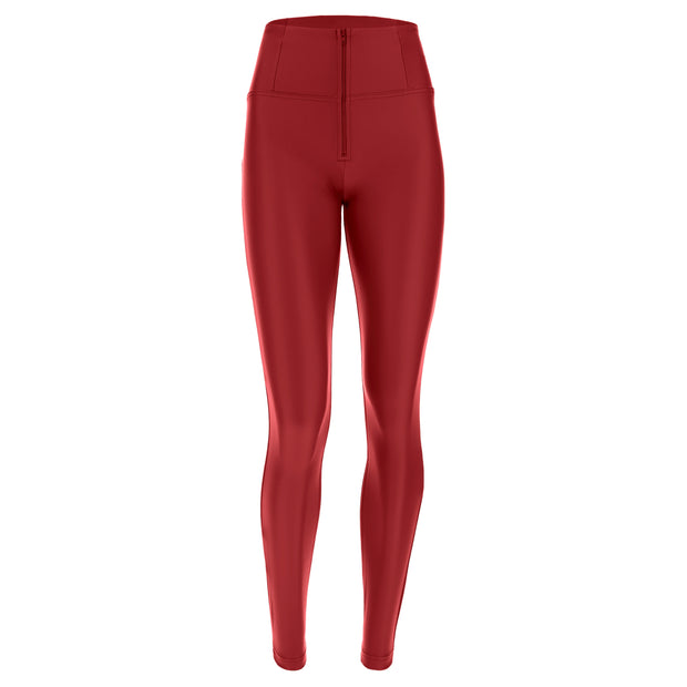 (WRUP1HC006-R68) FAUX LEATHER HIGH-WAIST WR.UP® RED PANTS