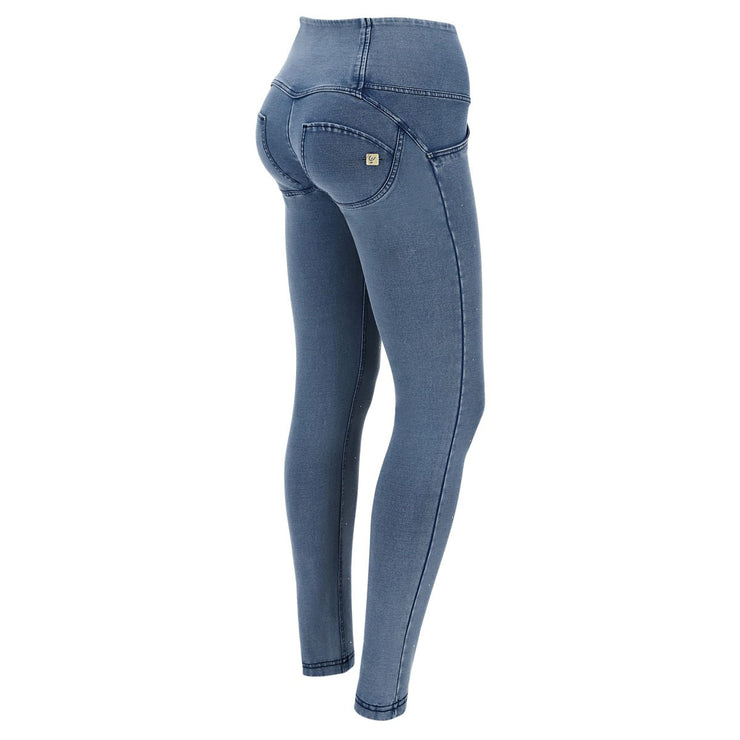 (WRUP1HF006-J4B) HIGH-WAISTED WR.UP® SHAPING JEANS WITH BUTTONS AND MICRO STUDS IN DARK BLUE