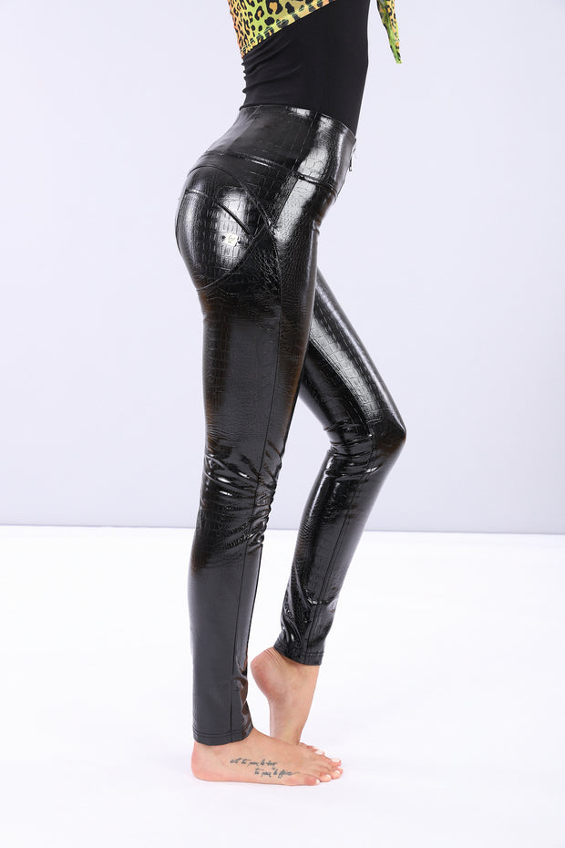 (WRUP1HS011-N) CROCODILE-EFFECT FAUX PATENT LEATHER WR.UP® SKINNY TROUSERS