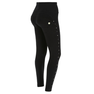 (WRUP1HS905-N) WR.UP® HIGH WAIST BLACK PANTS WITH SILVER PERLS
