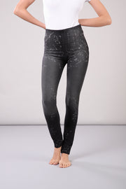 (WRUP1HS919-J48N) ACID-WASH WR.UP® HIGH WAIST SKINNY BLACK PANTS
