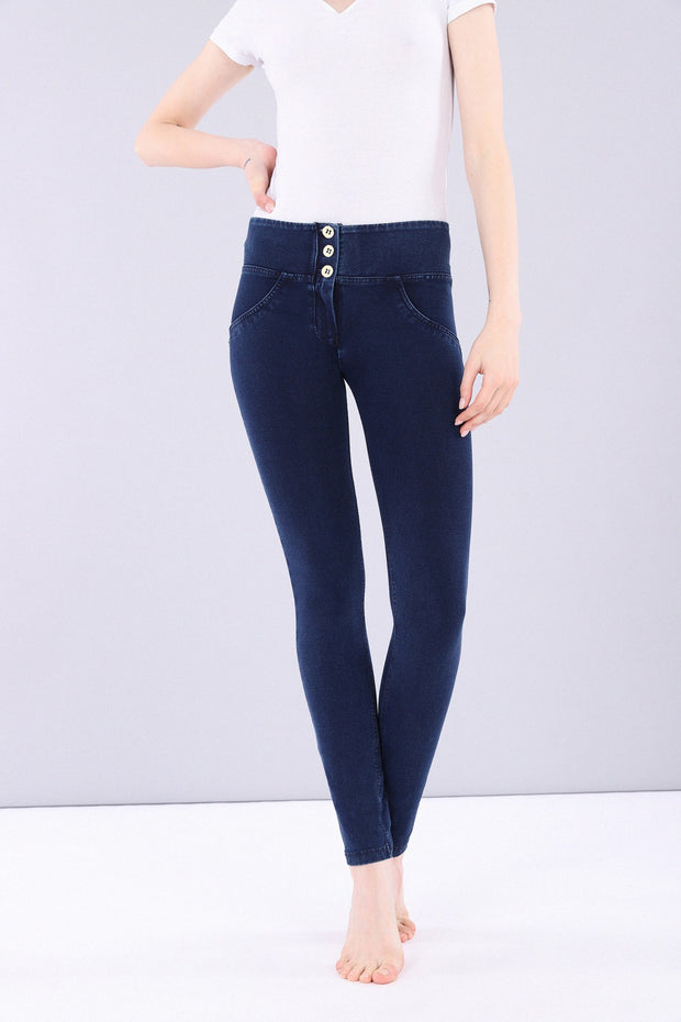 (WRUP1MC002-J0B) WR.UP® MID-WAIST SKINNY-FIT BLUE PANTS IN STRETCH DENIM