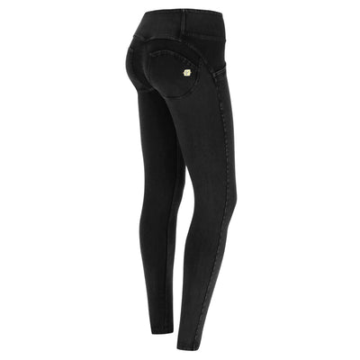 (WRUP1MC002-J7N) WR.UP® MID-WAIST SKINNY-FIT BLACK PANTS IN STRETCH DENIM