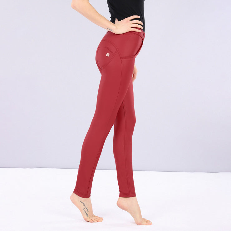 (WRUP1RC006-R68) WR.UP® REGULAR-RISE SKINNY-FIT RED PANTS IN FAUX LEATHER