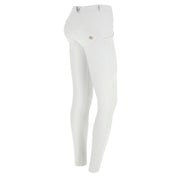 (WRUP1RC006-W) WR.UP® REGULAR-RISE SKINNY-FIT WHITE PANTS IN FAUX LEATHER