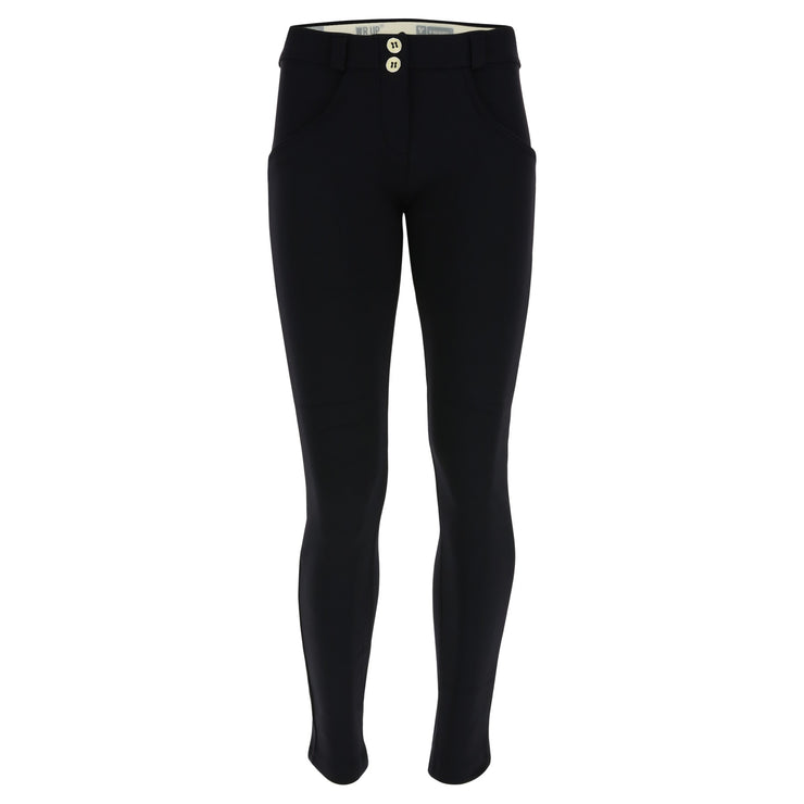 (WRUP1RF810-N)WR.UP® REGULAR-RISE SKINNY-FIT BLACK PANTS IN MADE-IN-ITALY FABRIC