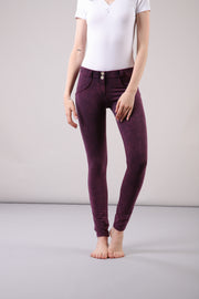 (WRUP1RF823-E51) WR.UP® REGULAR WAIST SKINNY-FIT PURPLE PANTS WITH ACID-WASHED EFFECT
