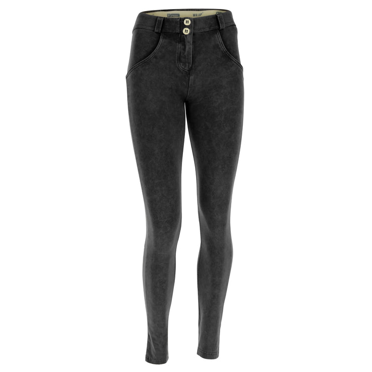 (WRUP1RF823-N) WR.UP® REGULAR WAIST SKINNY-FIT BLACK PANTS WITH ACID-WASHED EFFECT