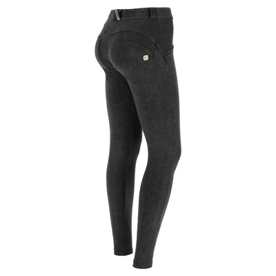 Freddy Wr.Up® Regular Waist Skinny-Fit Black Pants With Acid-Washed Effect