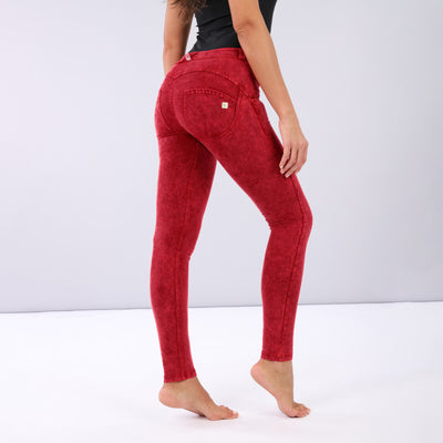 (WRUP1RF823-R102) WR.UP® REGULAR-RISE SKINNY-FIT PANTS WITH ACID-WASHED EFFECT