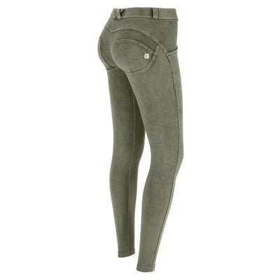 (WRUP1RF823-V46) WR.UP® REGULAR-WAIST SKINNY-FIT GREEN PANTS WITH ACID-WASHED EFFECT