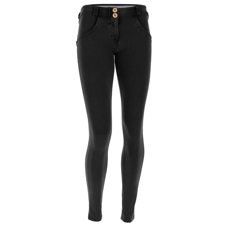 (WRUP1RF824-N) WR.UP® REGULAR-RISE SKINNY-FIT BLACK PANTS WITH A DISTRESSED EFFECT