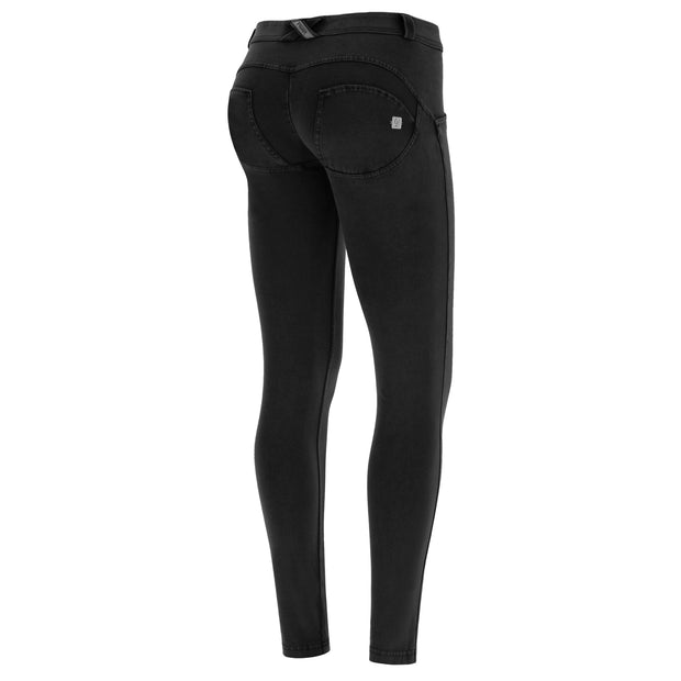 Freddy Wr.Up® Regular-Rise Skinny-Fit Black Pants With A Distressed Effect