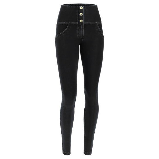 (WRUP2BHC002-J7N) HIGH-WAISTED ANKLE-LENGTH WR.UP® SHAPING JEANS IN DARK DENIM WITH BUTTONS