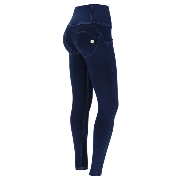 (WRUP2HF932-J29B) HIGH-WAIST SUPER SKINNY WR.UP® PANTS IN DARK BLUE DENIM WITH BLUE STITCHES