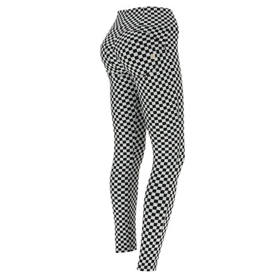 (WRUP2HF933-NW) CHECKERBOARD HIGH-WAIST WR.UP® SUPER SKINNY PANTS