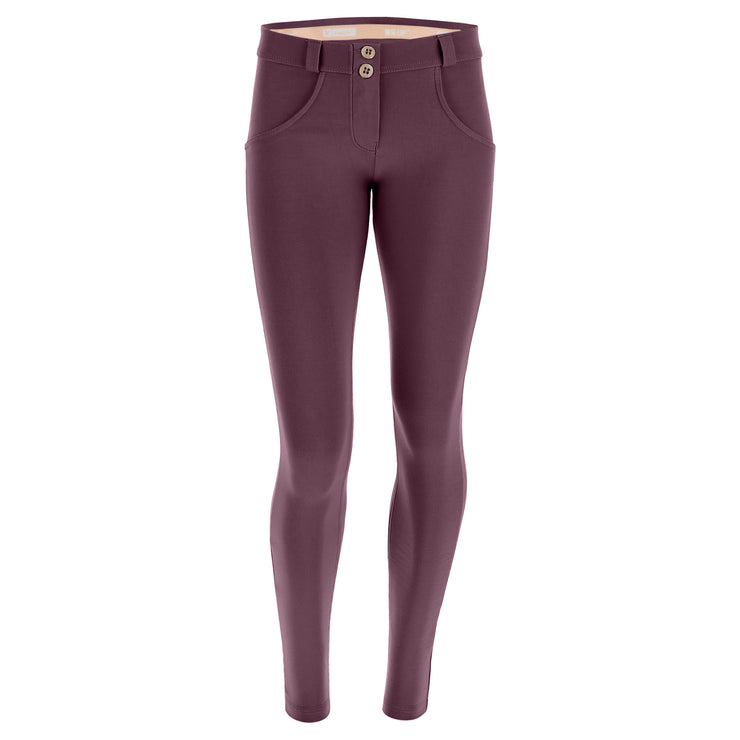 (WRUP2RC001-K89)WR.UP® SKINNY REGULAR WAIST MAUVE WINE PANTS IN STRETCH COTTON