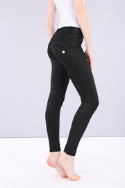 (WRUP2RF909-N) SHAPING WR.UP® COATED DENIM-EFFECT SUPER SKINNY PANTS