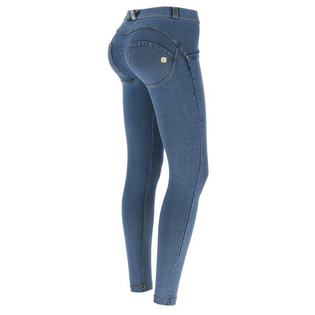(IT_WRUP4RC003_J4_Y) WR.UP® regular-rise super skinny ankle-length trousers in light denim-effect jersey